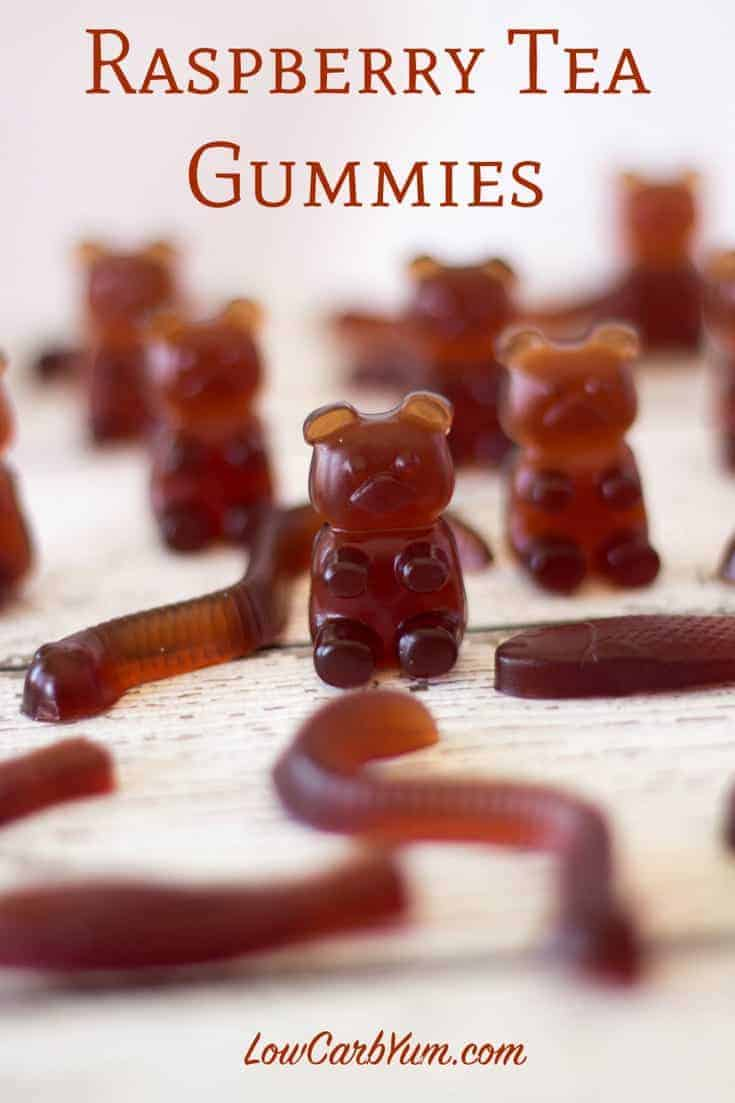 Here's a recipe for making homemade sugar free gummy bears that are a zero carb fruit snack. These cute little candies are also filled with healthy gelatin. #sugarfree #keto #lowcarb #ketorecipes #gummybears #candy | LowCarbYum.com