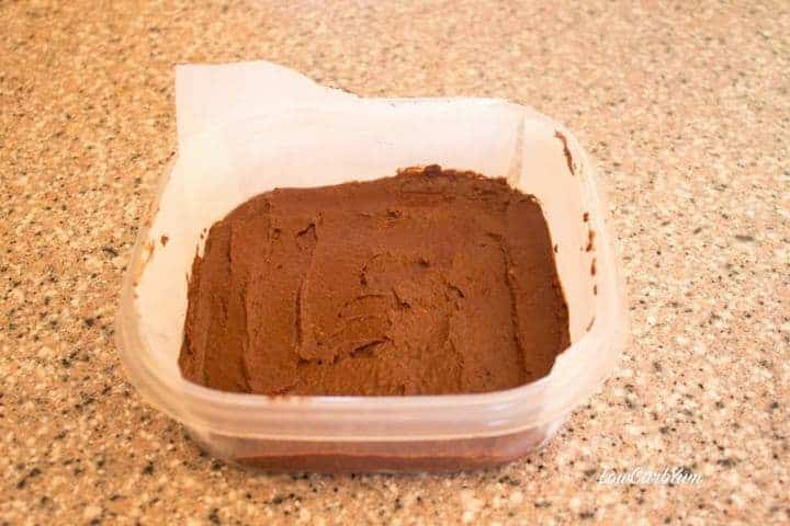 keto coconut chocolate fudge container