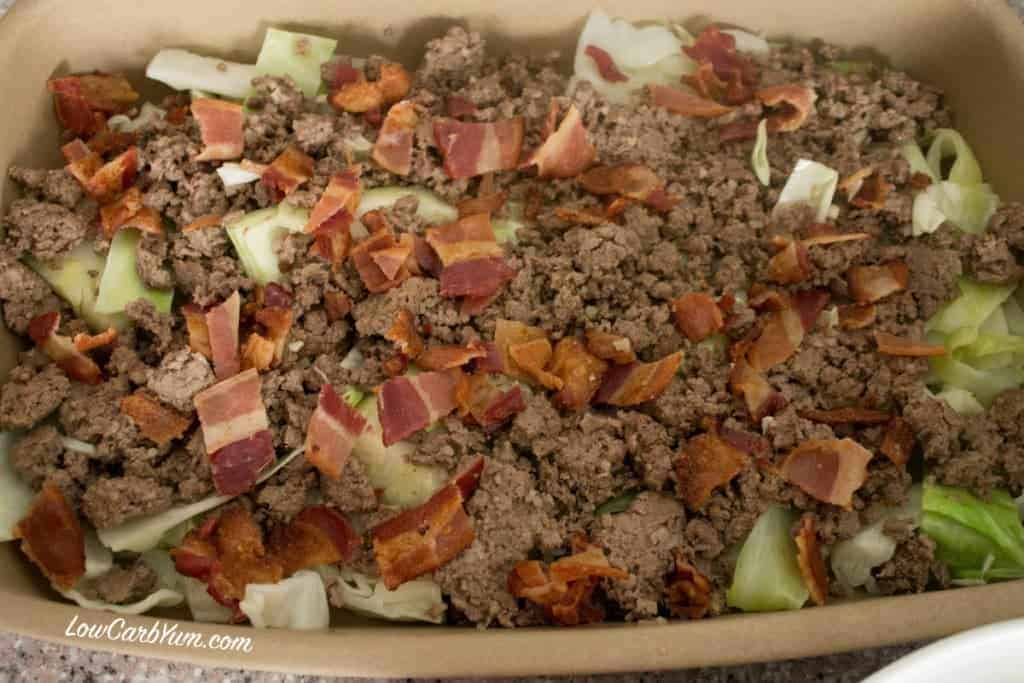 keto creamed cabbage beef bacon casserole meat