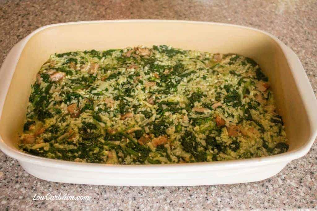 keto spinach cauliflower rice ham casserole