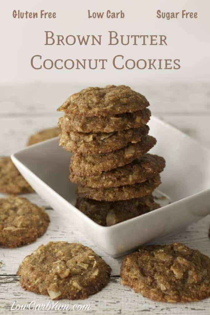 Pin Text Gluten Free Low Carb Sugar Free Brown Butter Coconut Cookies