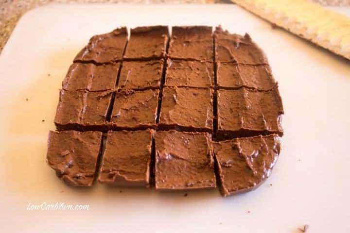 low carb coconut chocolate fudge cutting squares