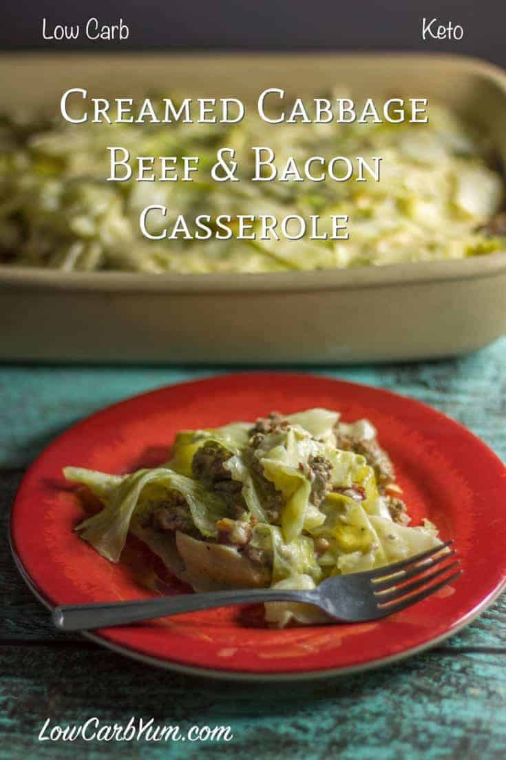 A low carb creamed cabbage ground beef casserole with bacon. The cream sauce uses Cajun spices that enhances the flavor and gives a Southern flare.