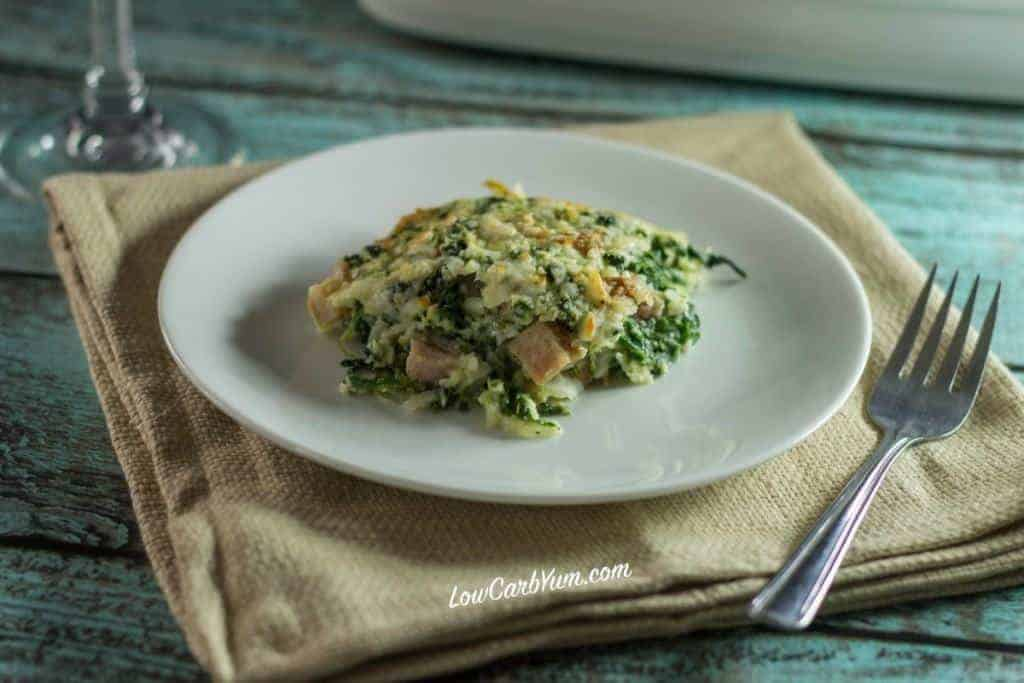 low carb keto spinach cauliflower ham casserole