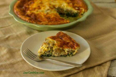 low carb keto spinach mushroom quiche recipe