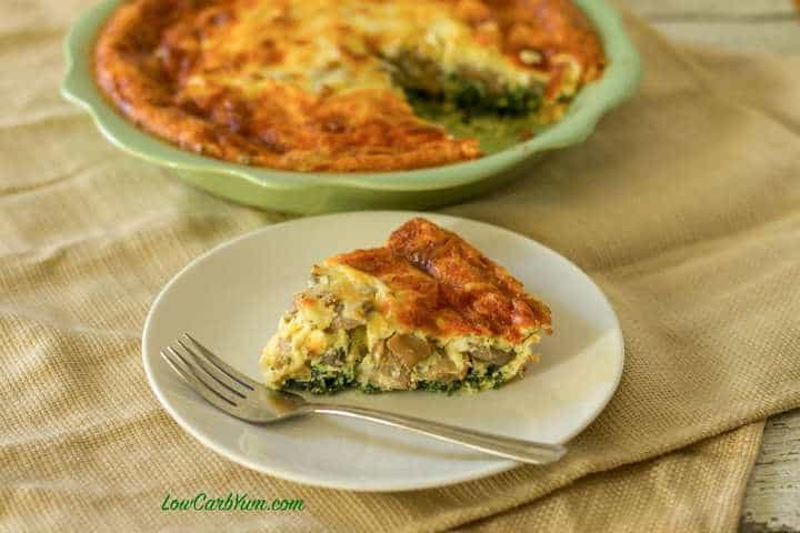 spinach mushroom cheese quiche crustless low carb yum. Black Bedroom Furniture Sets. Home Design Ideas