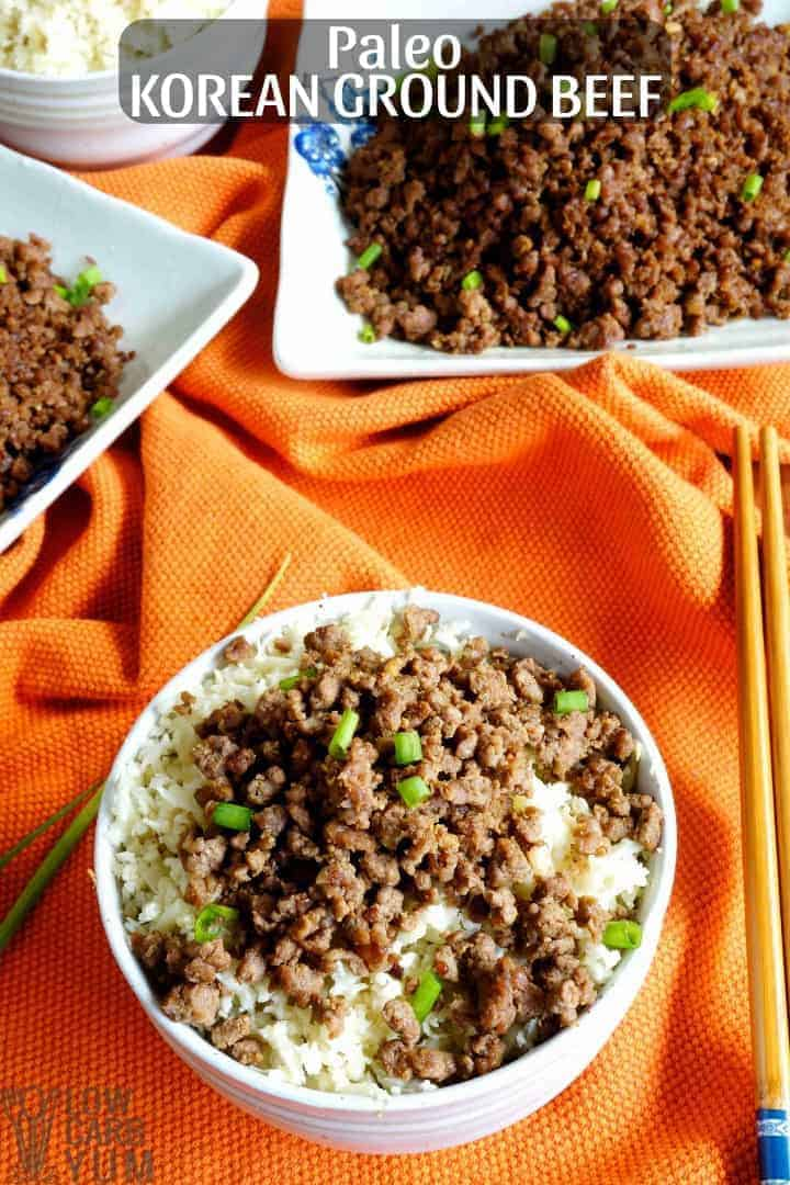 Quick and easy paleo Korean ground beef recipe for a simple dinner. #lowcarb #keto #paleo #whole30 #KoreanFood #glutenfree #easyrecipe #ketorecipes #weightwatchers #atkins #southbeach | LowCarbYum.com