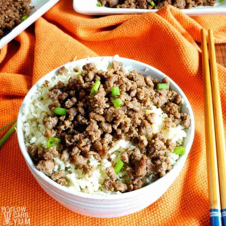 Paleo Korean ground beef served over low carb keto cauliflower rice. #lowcarb #keto #paleo #whole30 #KoreanFood #glutenfree #easyrecipe #ketorecipes #weightwatchers #atkins #southbeach | LowCarbYum.com
