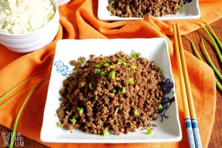 An easy paleo Korean ground beef recipe for keto dinners. #lowcarb #keto #paleo #whole30 #KoreanFood #glutenfree #easyrecipe #ketorecipes #weightwatchers #atkins #southbeach | LowCarbYum.com