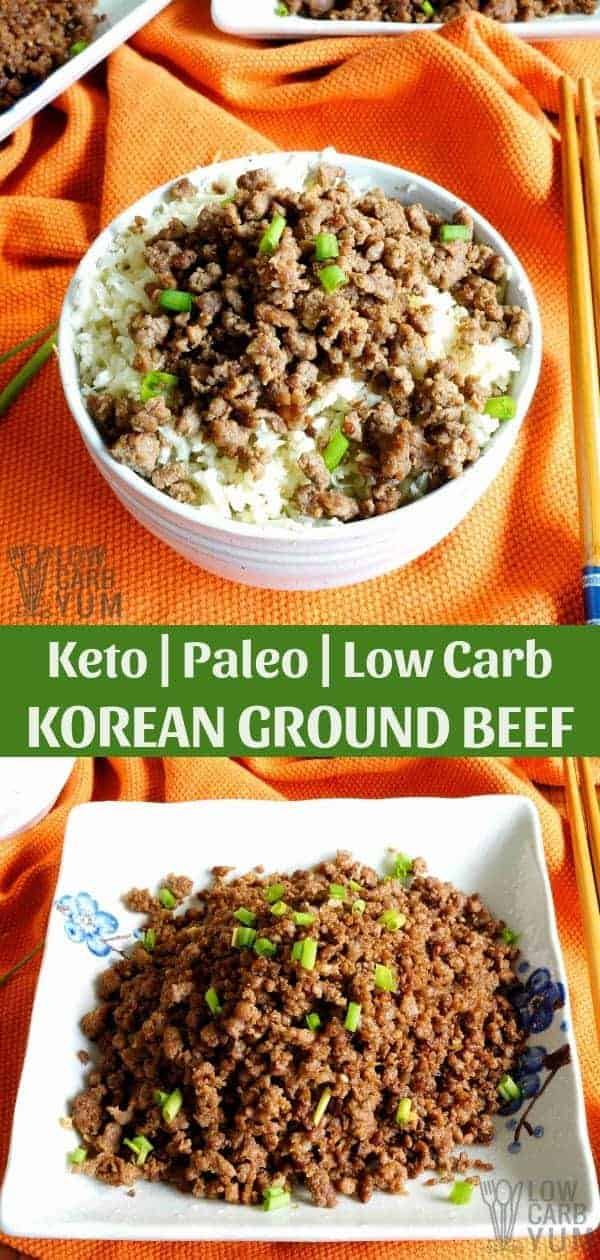 This paleo Korean ground beefcooks inexpensive meat with sweet and spicy seasonings. It's a dish that can be cooked and served within 15 minutes. #lowcarb #keto #paleo #whole30 #KoreanFood #glutenfree #easyrecipe #ketorecipes #weightwatchers #atkins #southbeach | LowCarbYum.com