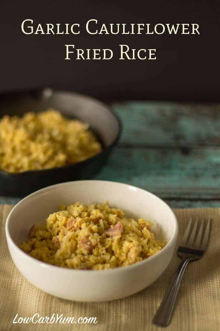 This Filipino Sinangag style garlic cauliflower fried rice makes a delicious and tasty breakfast. It's a great way to use up any leftover cauliflower rice.