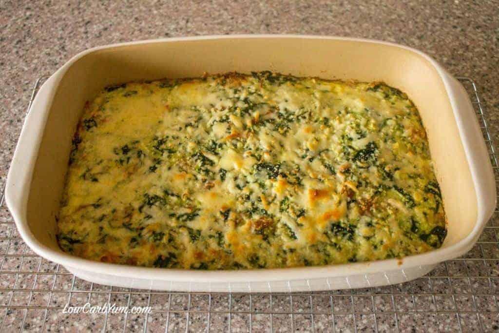 spinach cauliflower rice ham-casserole