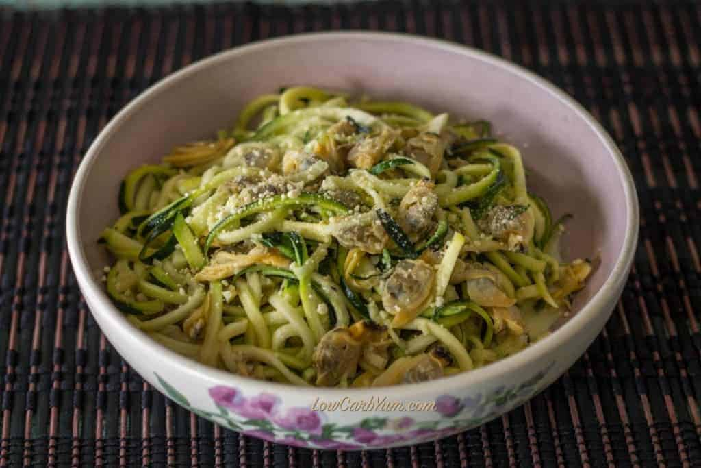 spiralized zucchini noodles clams parmesan recipe