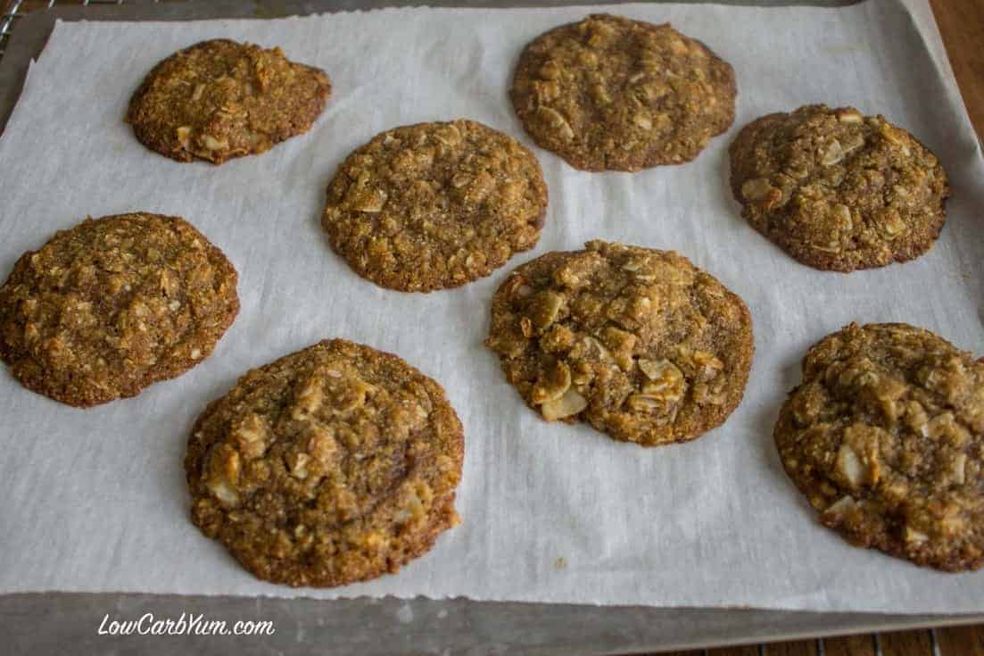sugar free brown butter coconut cookies parchment