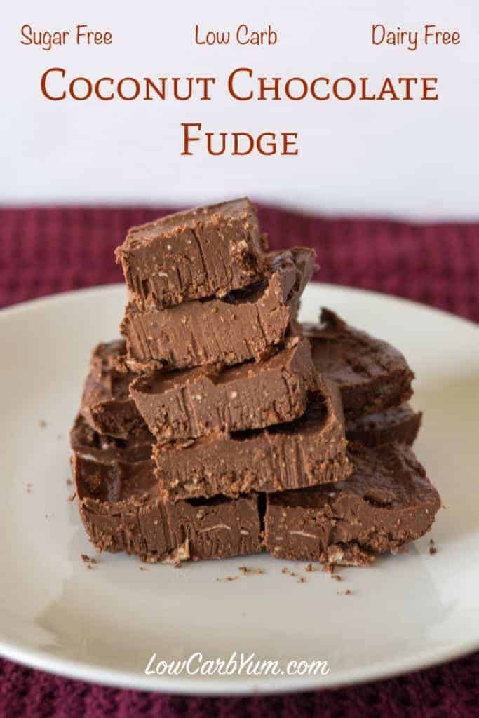 coconut chocolate fudge made with coconut oil and almond or coconut ...