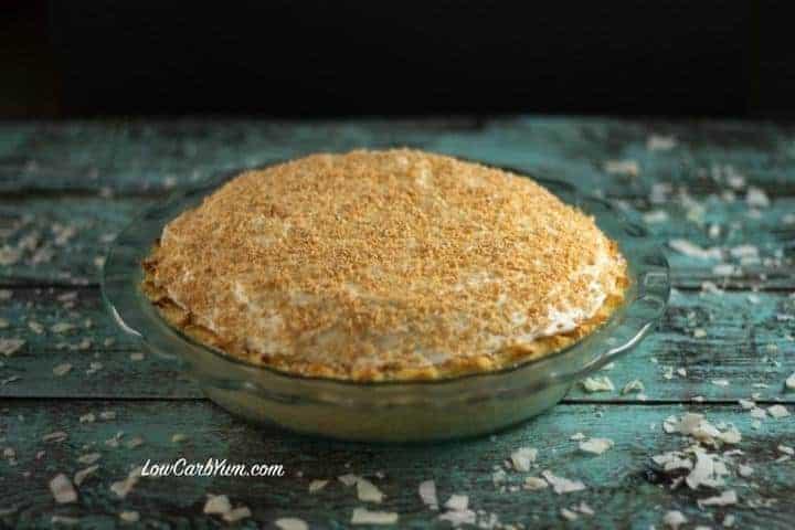 sugar free keto low carb coconut cream pie