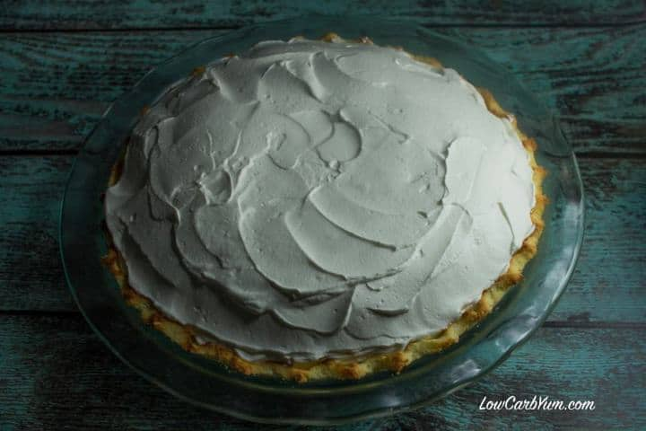 sugar free low carb coconut cream pie top