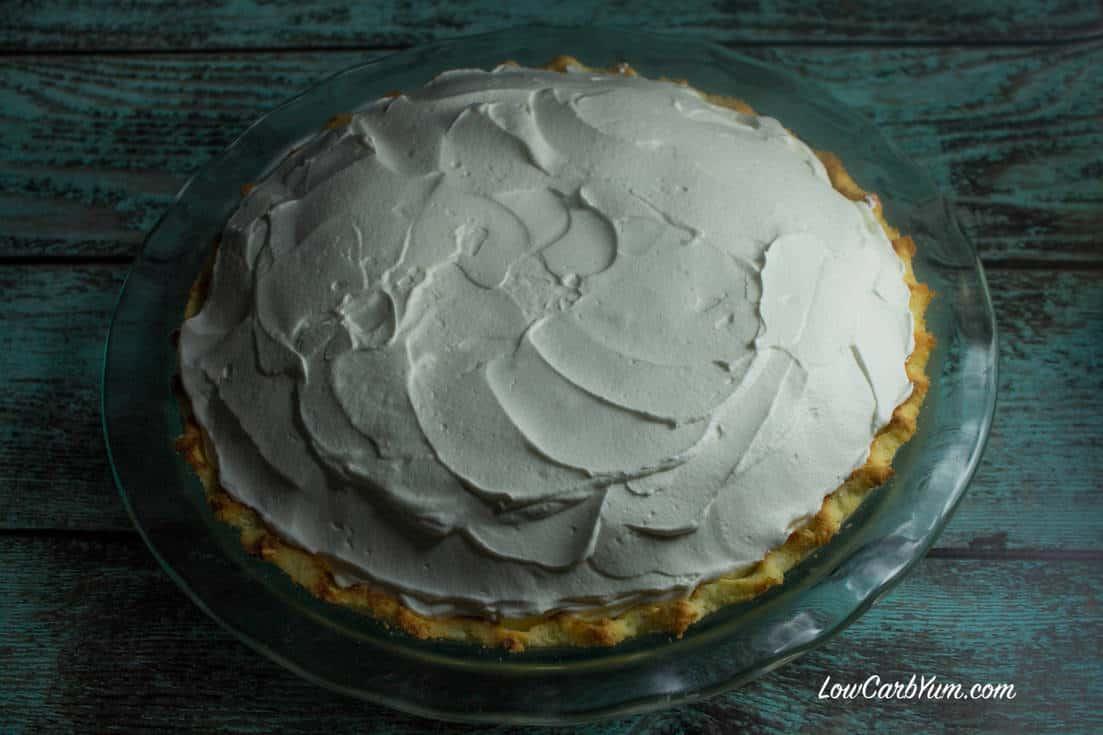 sugar free low carb coconut cream pie top