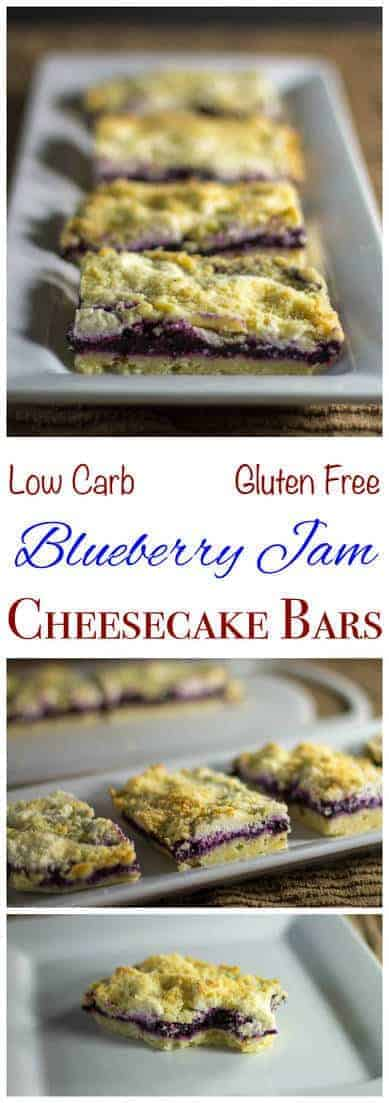 Healthy low carb and gluten free blueberry jam cheesecake bars made with chia jam. These sugar free crumb bars can be made with any fresh or frozen berries.