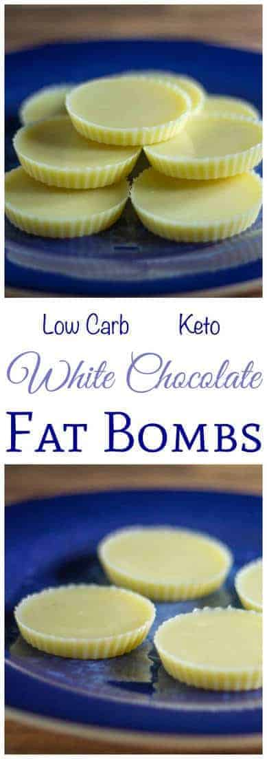 Need a little more fat on your low carb high fat keto diet? Try this recipe for white chocolate fat bombs. It's quick and easy to make with 3 ingredients. #lowcarb #lowcarbfatbomb #lowcarbrecipe | LowCarbYum.com