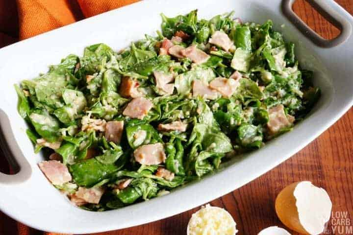 Spinach and ham layer