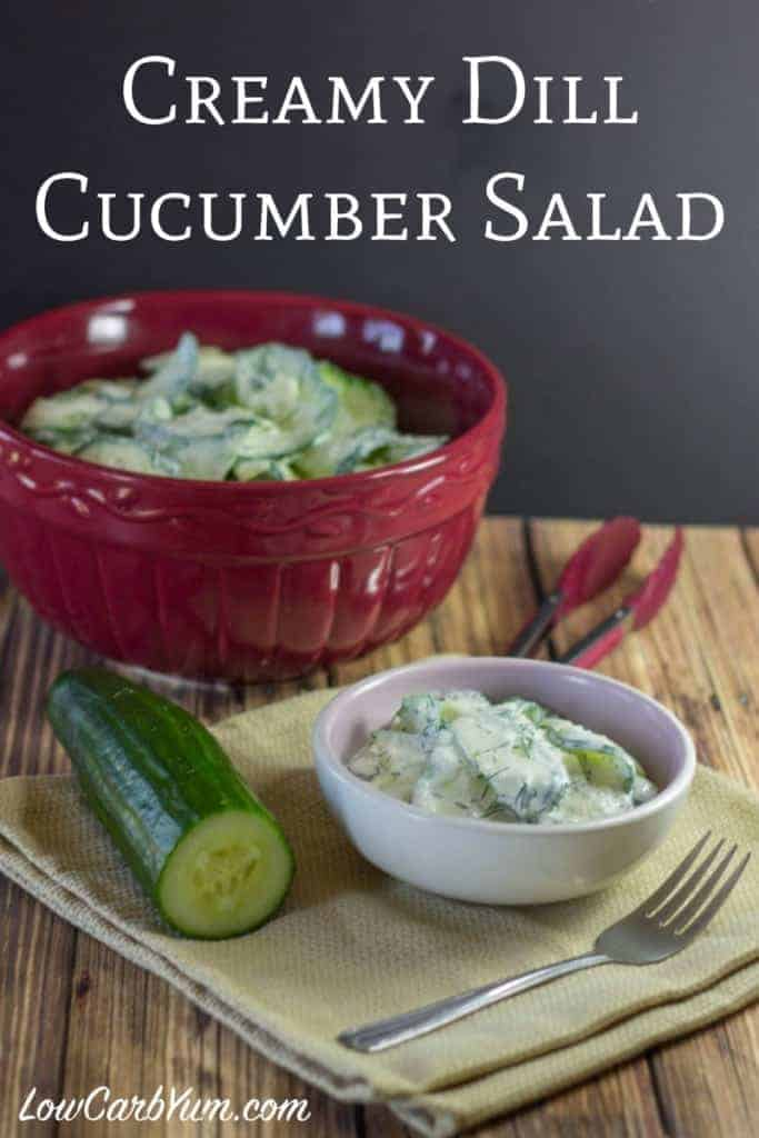 Here's a creamy dill cucumber salad made with a sour cream and vinegar based dressing. It's a great way to enjoy your crop of cucumbers on hot summer days. Low carb, keto, and Banting diet approved!