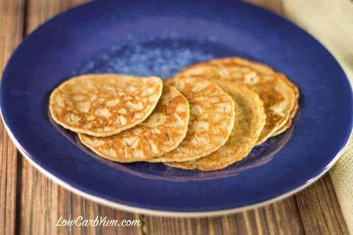 keto egg fast cinnamon pancakes on blue plate