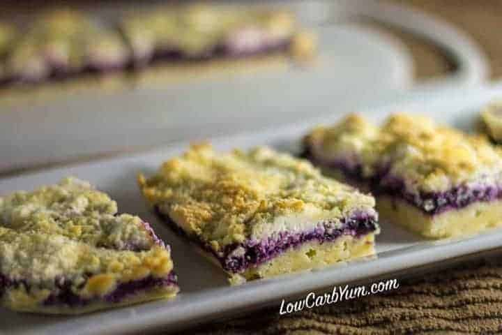 low carb blueberry chia jam cheesecake bars recipe