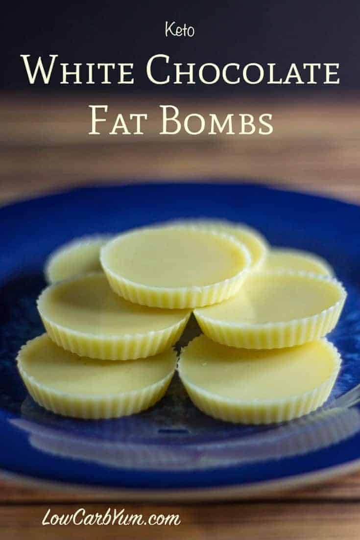 Need a little more fat on your low carb high fat keto diet? Try this recipe for white chocolate fat bombs. It's quick and easy to make with 3 ingredients.