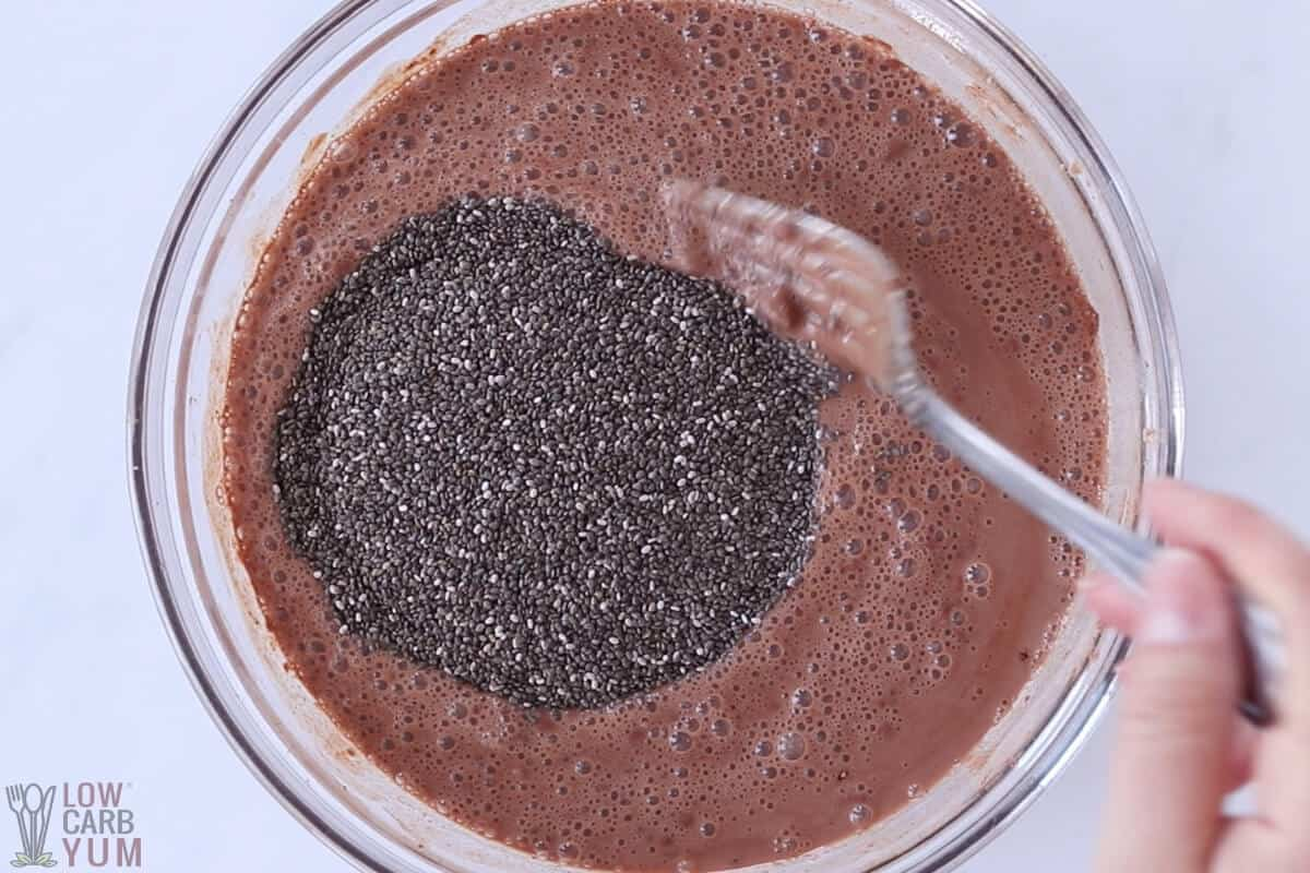 stirring in chia seeds