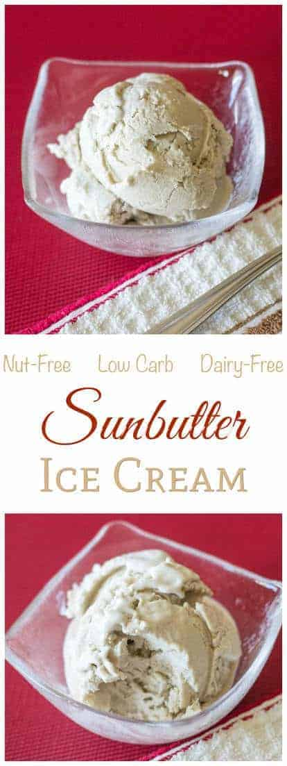 If you like sunflower seed butter, try this nut and dairy free sunbutter ice cream. Healthy full fat coconut milk makes it creamy. Low carb and sugar free!