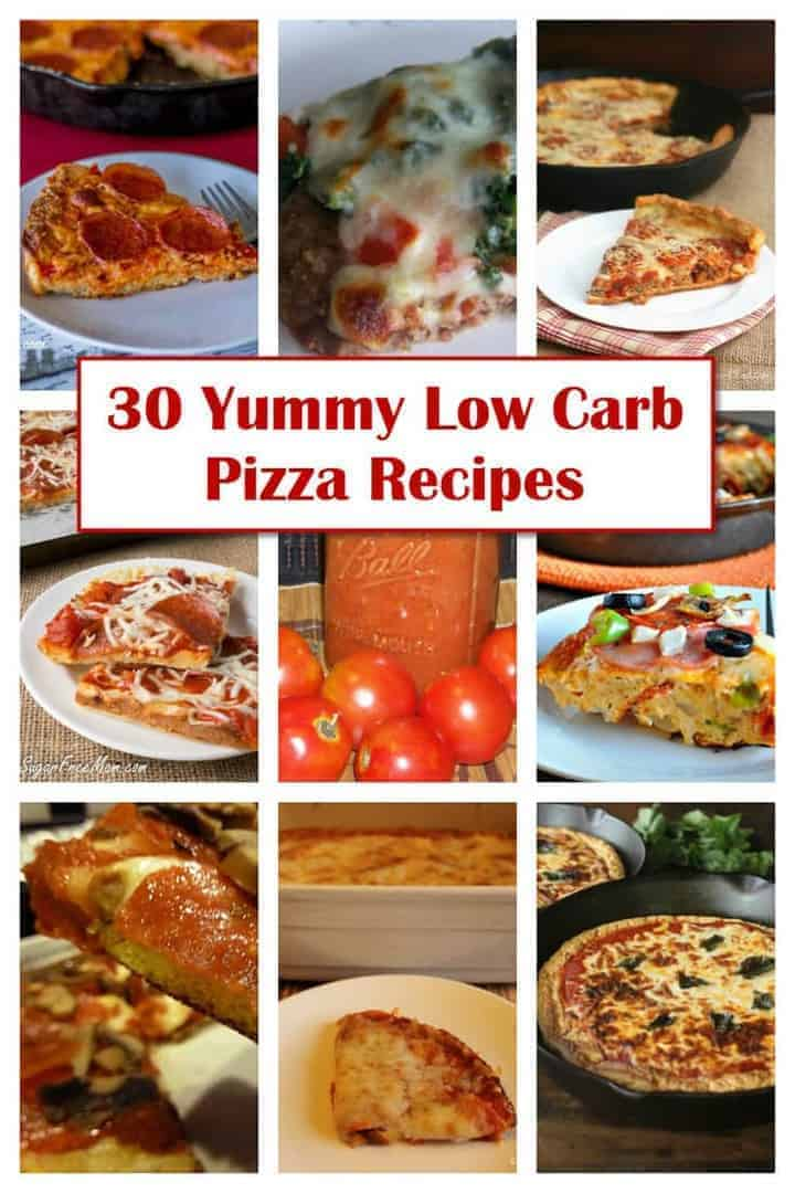 A round-up of 30 yummy low carb pizza recipes that are sure to be enjoyed by all on a gluten free LCHF Keto diet.