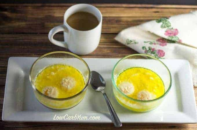 keto low carb buttery asiago baked eggs