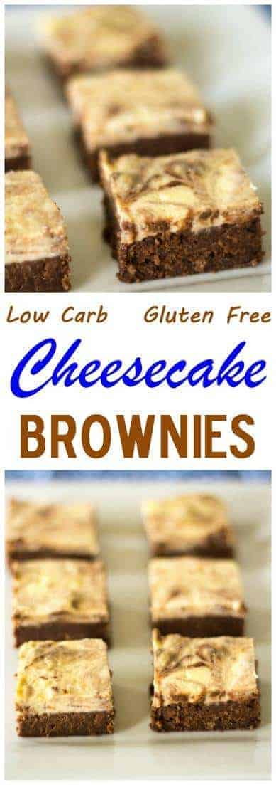 Turn low carb brownies into something special by swirling in a cream cheese mixture on top. These gluten free cheesecake brownies are a delicious treat. #lowcarbdessert #cheesecake #brownies #lowcarbrecipe #lowcarb | LowCarbYum.com
