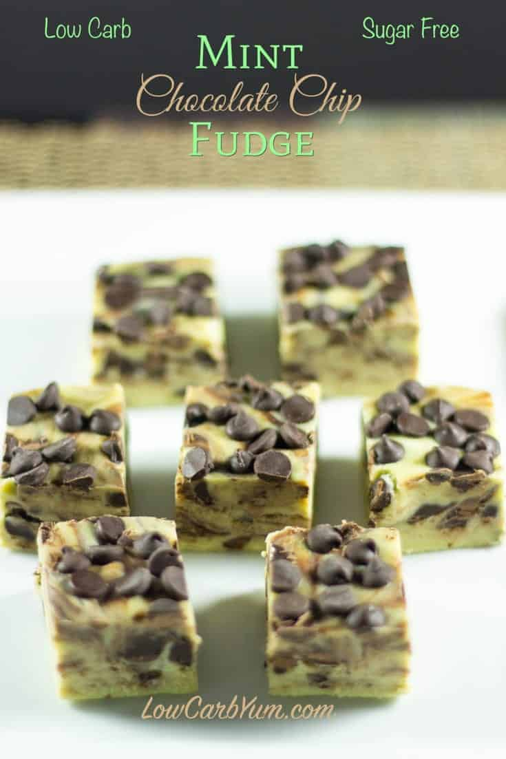 A delicious sugar free low carb mint chocolate chip fudge recipe that can be enjoyed on a LCHF Ketogenic Keto diet!