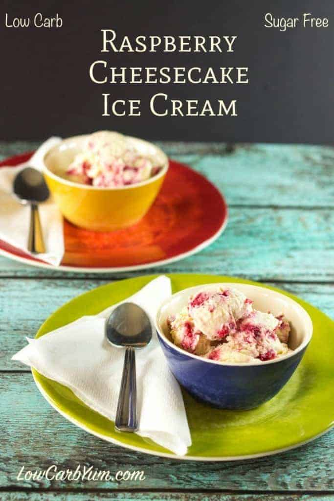 If you are on a low carb keto diet, you will love this delicious creamy sugar free raspberry cheesecake ice cream recipe!