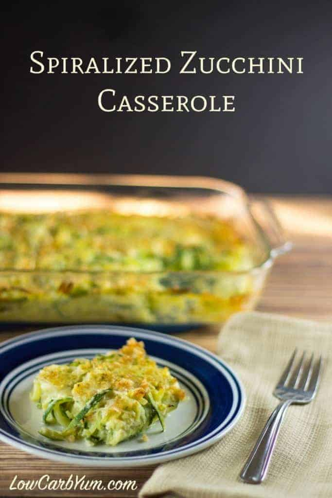 This tasty spiralized zucchini casserole has an egg base and a crunchy gluten free topping. Enjoy as a side dish for a main meal or brunch.