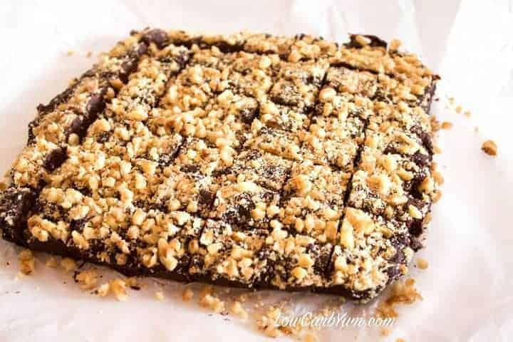 Low carb sugar free chocolate nut fudge cutting in squares