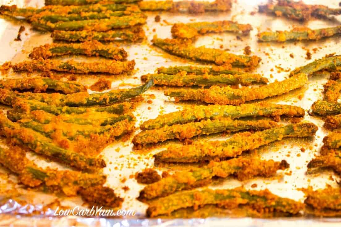 oven fried green beans after baking