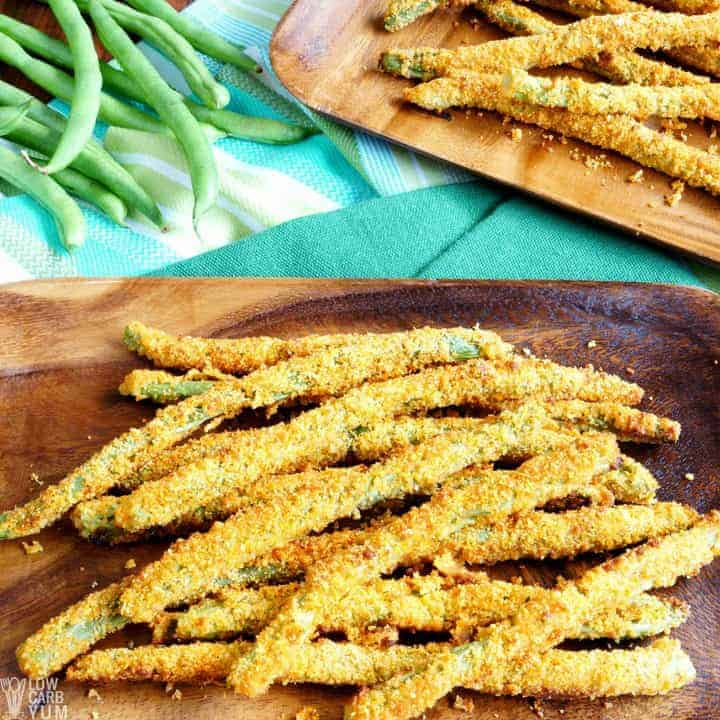Serving up fried green beans as fries
