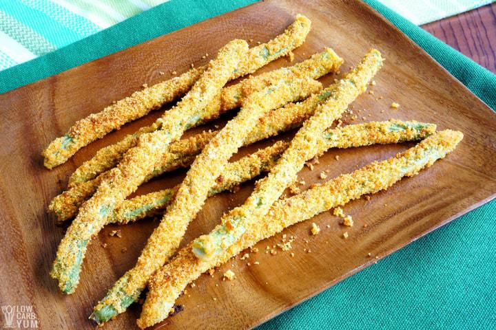 Plate of oven fried green beans fries