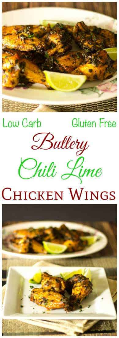 Enjoy these low carb and gluten free buttery chili lime chicken wings at your next cookout or party. These tasty wings make a great appetizer or main dish.