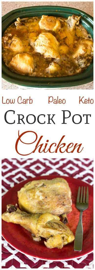 A simple low carb recipe for crock pot chicken thighs and drumsticks that requires little prep. The ingredients can be placed in the crock the night before.