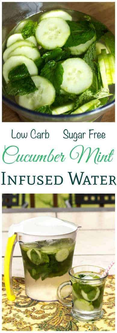 Enjoy a cool and refreshing glass of cucumber mint infused water to beat the heat outside. There are no added sugars or sweeteners in this flavored water.