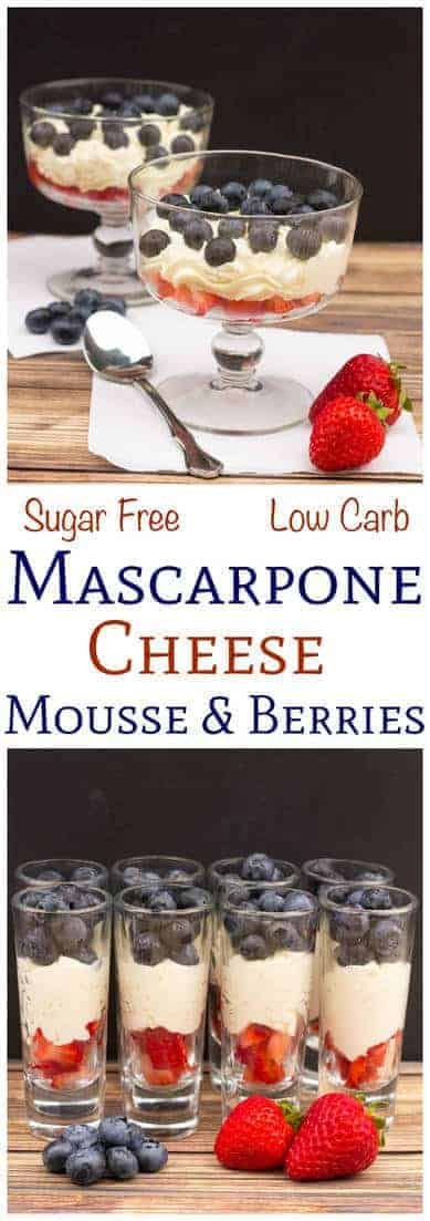 Need a quick red white and blue dessert? This sugar free mascarpone mousse is made in under a minute using only three ingredients! Perfect served with berries! #mascarpone #easydessert #keto #sugarfree #mousse | LowCarbYum.com