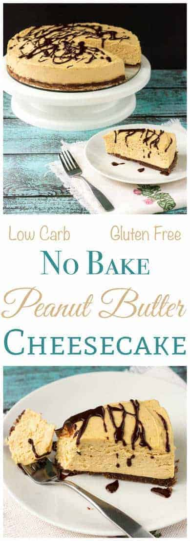 Enjoy this yummy low carb no bake peanut butter cheesecake any time of year. The gluten free crust is sweetened blend of almond flour, cocoa, and butter. Keto Sugar Free Banting Dessert! | LowCarbYum.com
