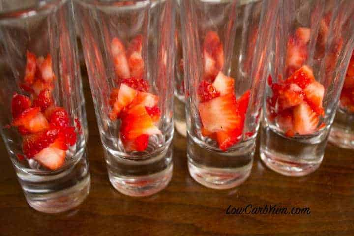 filling dessert shot glass strawberries