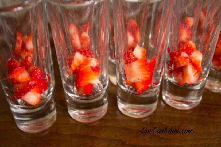 filling dessert shot glass strawberries