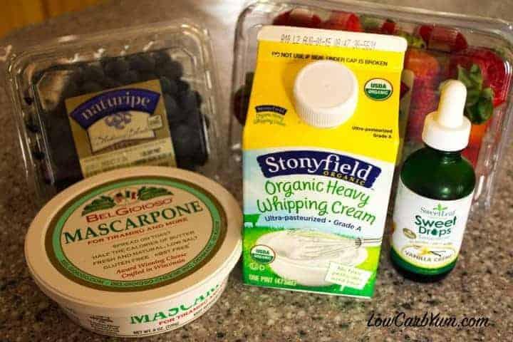 five ingredients mascarpone cream sweetener berries