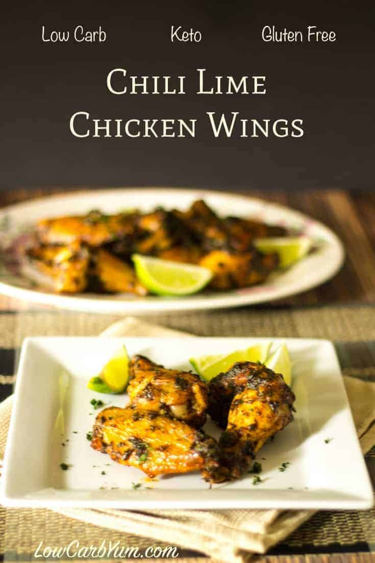 Low carb keto buttery chili lime chicken wings recipe. These tasty bites can be served as an appetizer or main dish.